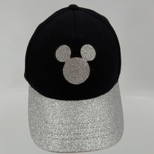 Mickey Mouse Logo Silver Glitter Hat adult